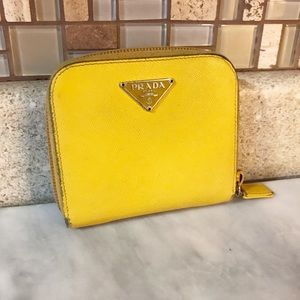 Auth. Prada Yellow Saffiano Leather Compact Wallet